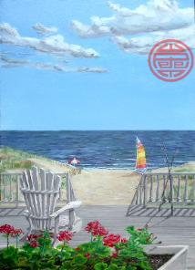 view from a seaside window, geraniums, hobie cat